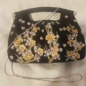 Judith Leiber black purse with crystal and sequins